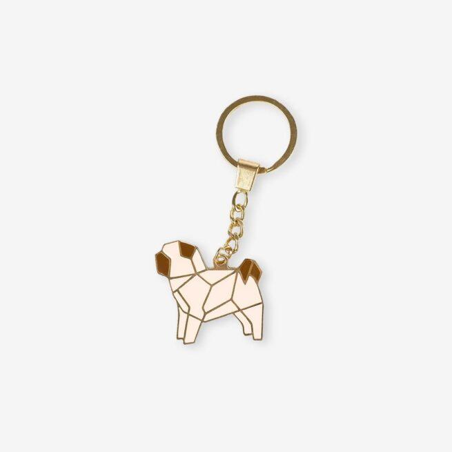 Brelok ręcznie malowany pies rasy mops geometryczny na łańcuszku od producenta Pinswear