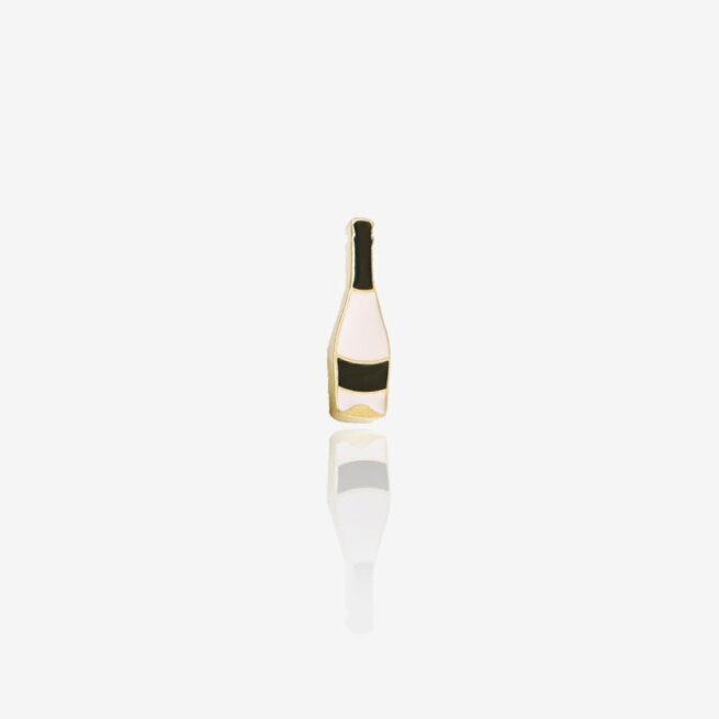 Przypinki emaliowane metalowe w złotym wykończeniu butelka wina Prosecco od producenta pinów od Pinswear