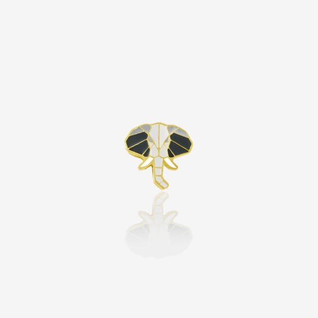 Ręcznie malowany pin z geometryczną głową słonia z podniesioną trąbą na szczęście od producenta metalowych pinów od Pinswear