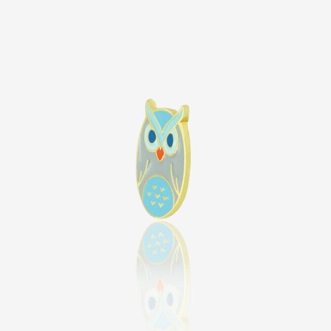Metalowe przypinki w kształcie sowy w pastelowych kolorach od producenta ręcznie malowanych pinow od Pinswear