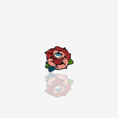 Seria walentynkowych miłosnych pinow dla zakochanych retro czerwona róża z okiem w środku ręcznie emaliowana przypinka od producenta Pinswear