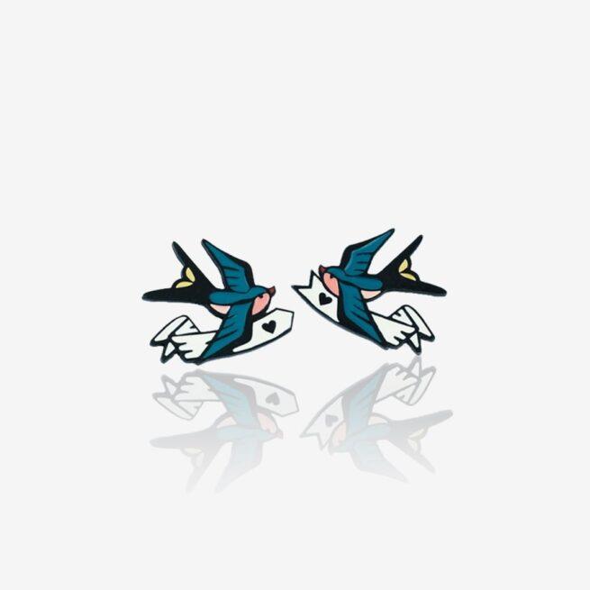 Pinsy set retro Jaskółki od Pinswear na zamówienie od producenta emaliowanych przypinek