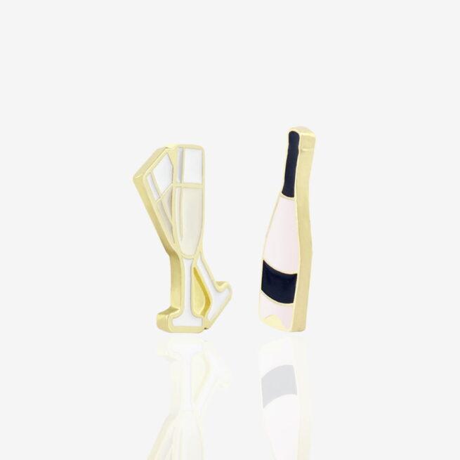 Set dwóch przypinek ręcznie malowanych butelka prosecco i dwa kieliszki szampana od Pinswear