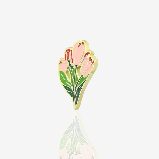Ręcznie malowne przypinki w kształcie czerwony tulipanów od producenta metalowych pinów od Pinswear