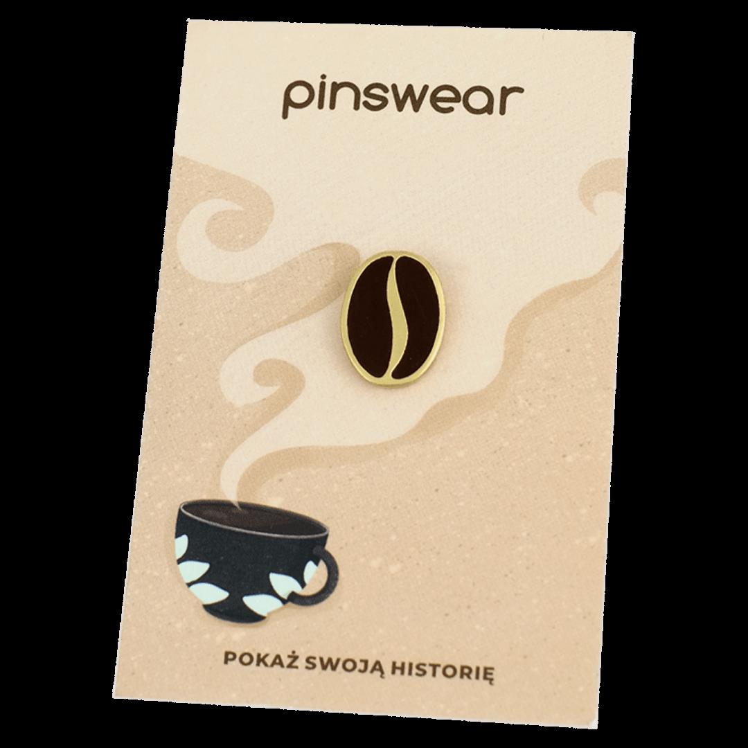 Przypinki w kształcie ziarenka kawy dla kawoszy i baristów od producenta ręcznie malowanych pinów od Pinswear