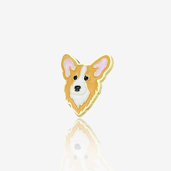 Ręcznie malowany pin w wykończeniu złoto błysk pies corgi od producenta metalowych pinów od Pinswear