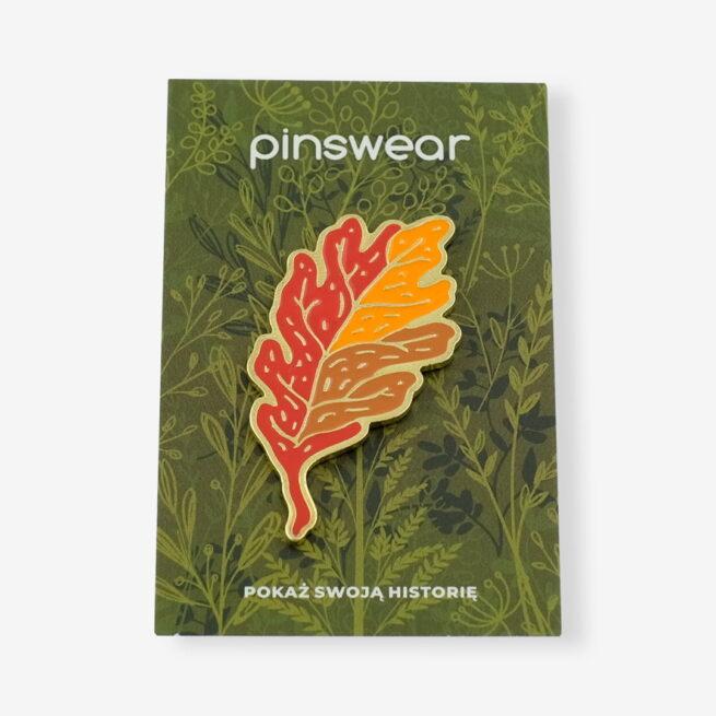 Ręcznie malowne pinsy jesienny liść dębu od producenta metlowych pinów od Pinswear